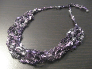 Crocheted Trellis Yarn Necklace Multi-Strand - Grape