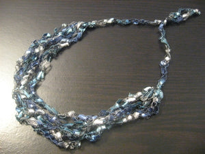 Crocheted Trellis Yarn Necklace Multi-Strand - Ocean Blue