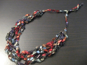 Crocheted Trellis Yarn Necklace Multi-Strand - Rainbow