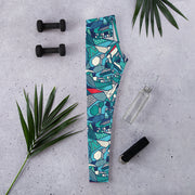 Teal Skull Full-Length Leggings