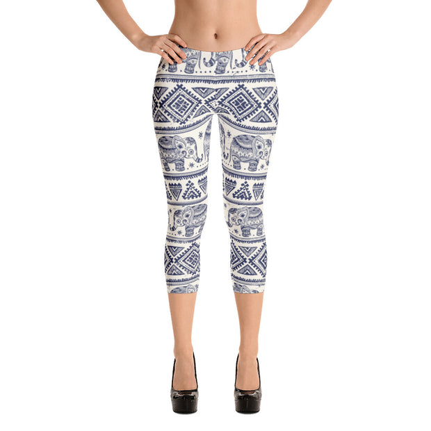 Indian Elephant Capri Leggings