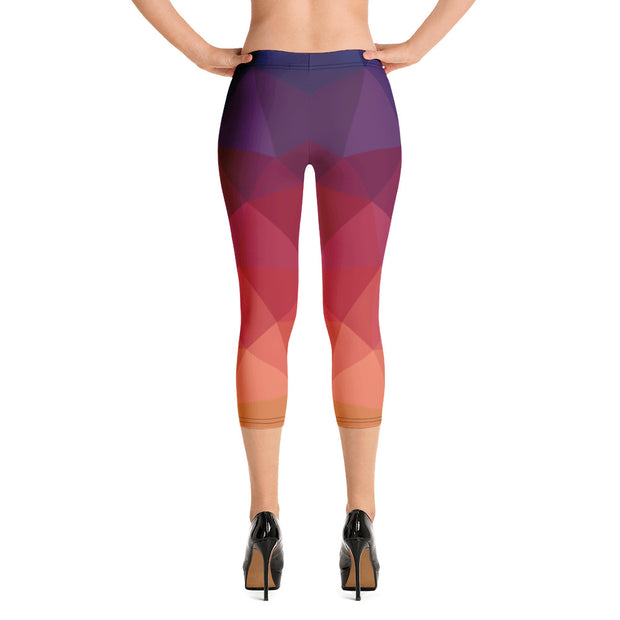 Orange Violet Capri Leggings