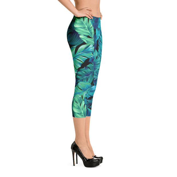 Palm Leaves Capri Leggings