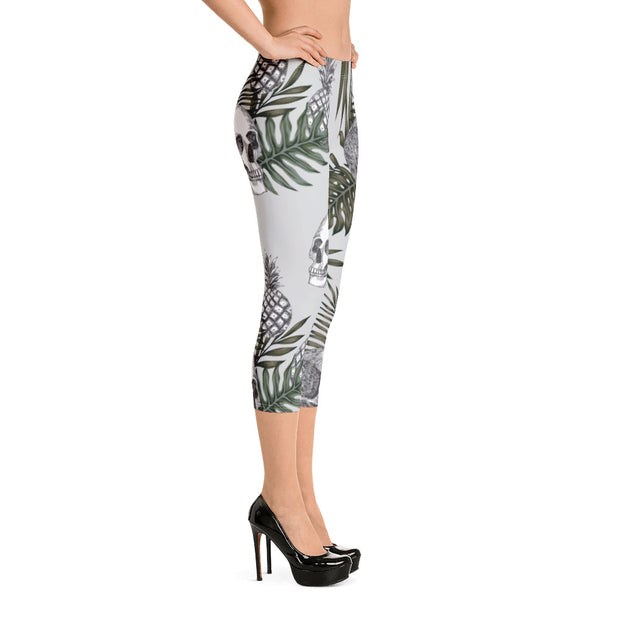 Pineapple Skull Capri Leggings