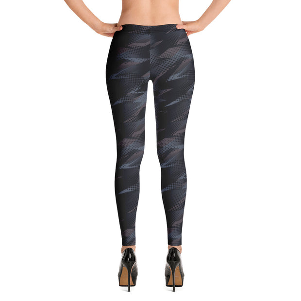 Black Abstract Full-Length Leggings
