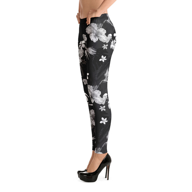 Black Floral Full-Length Leggings