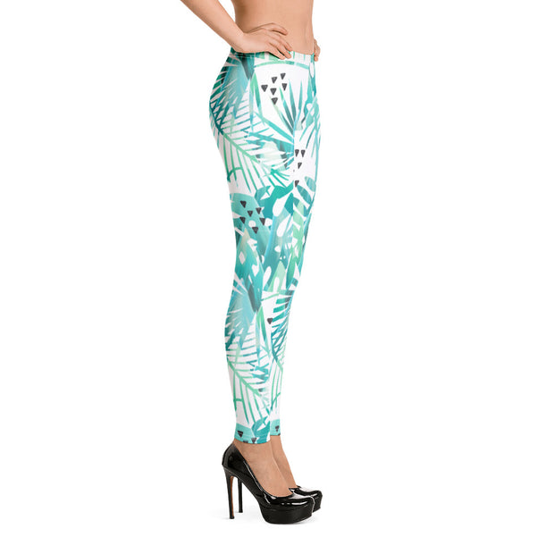 Cyan Leaves Full-Length Leggings