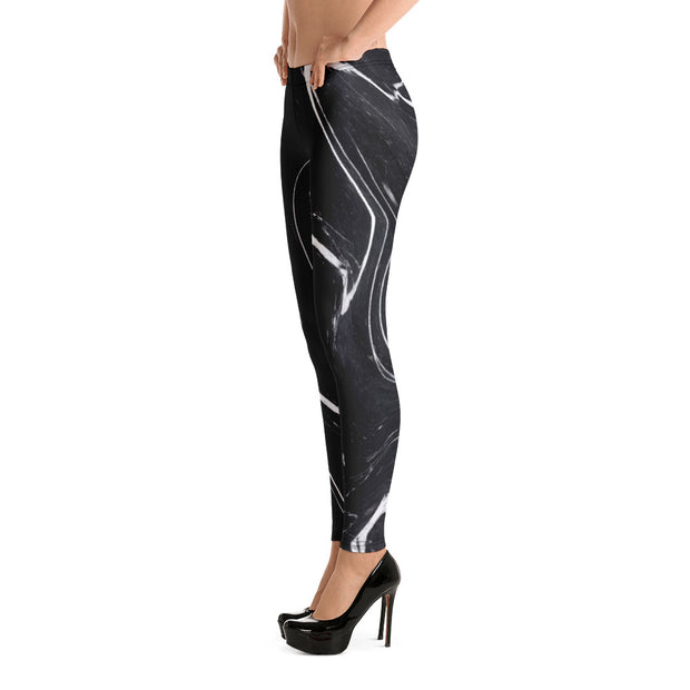 Black Marble Full-Length Leggings