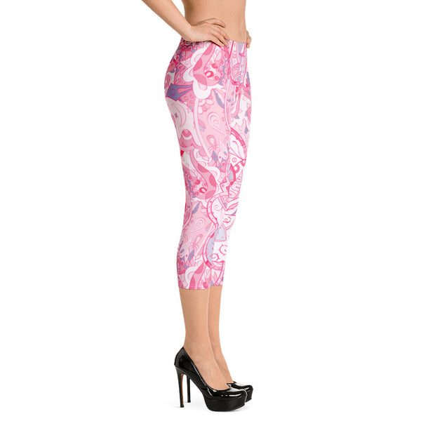 Tracery Pink Capri Leggings