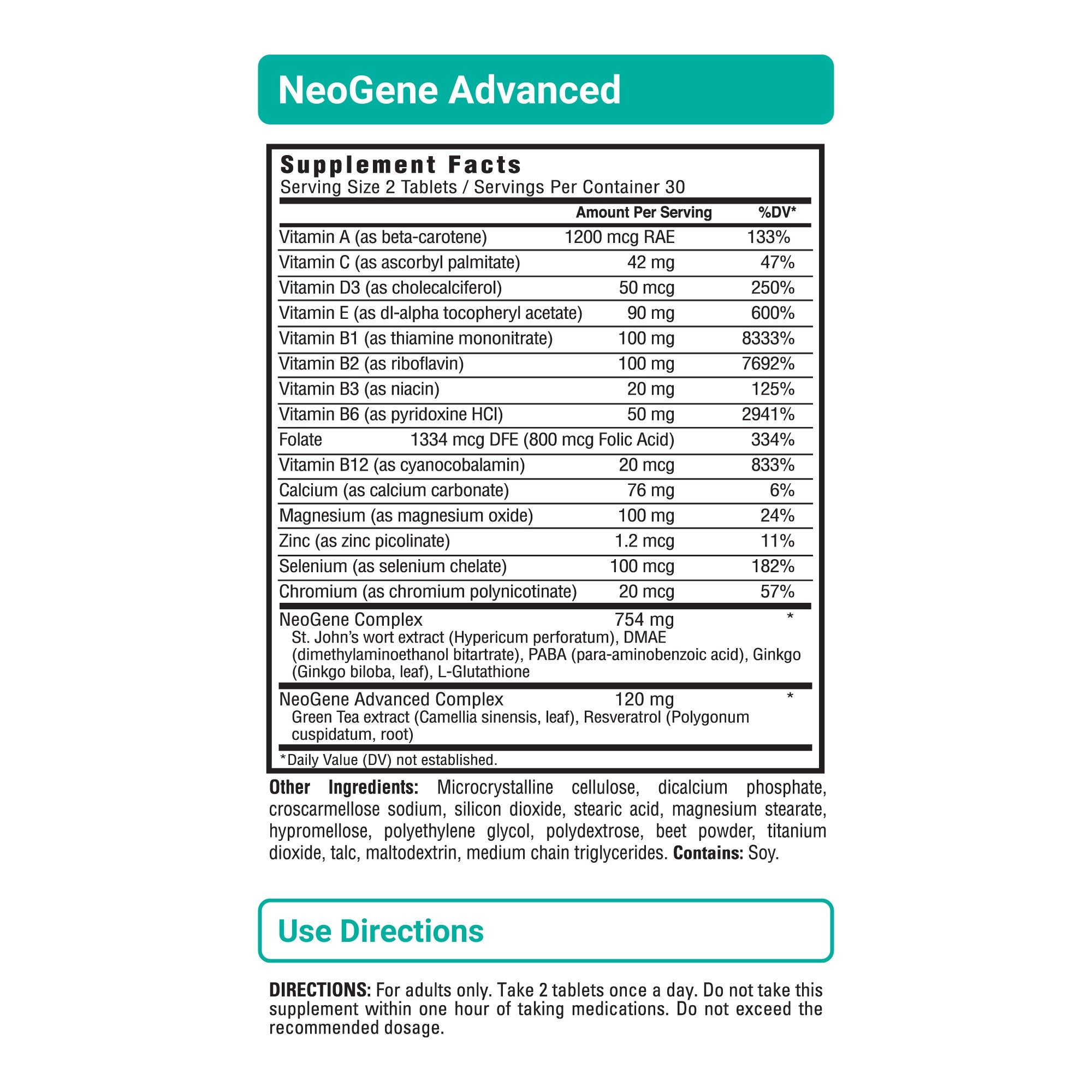 NeoGene Advanced sup facts