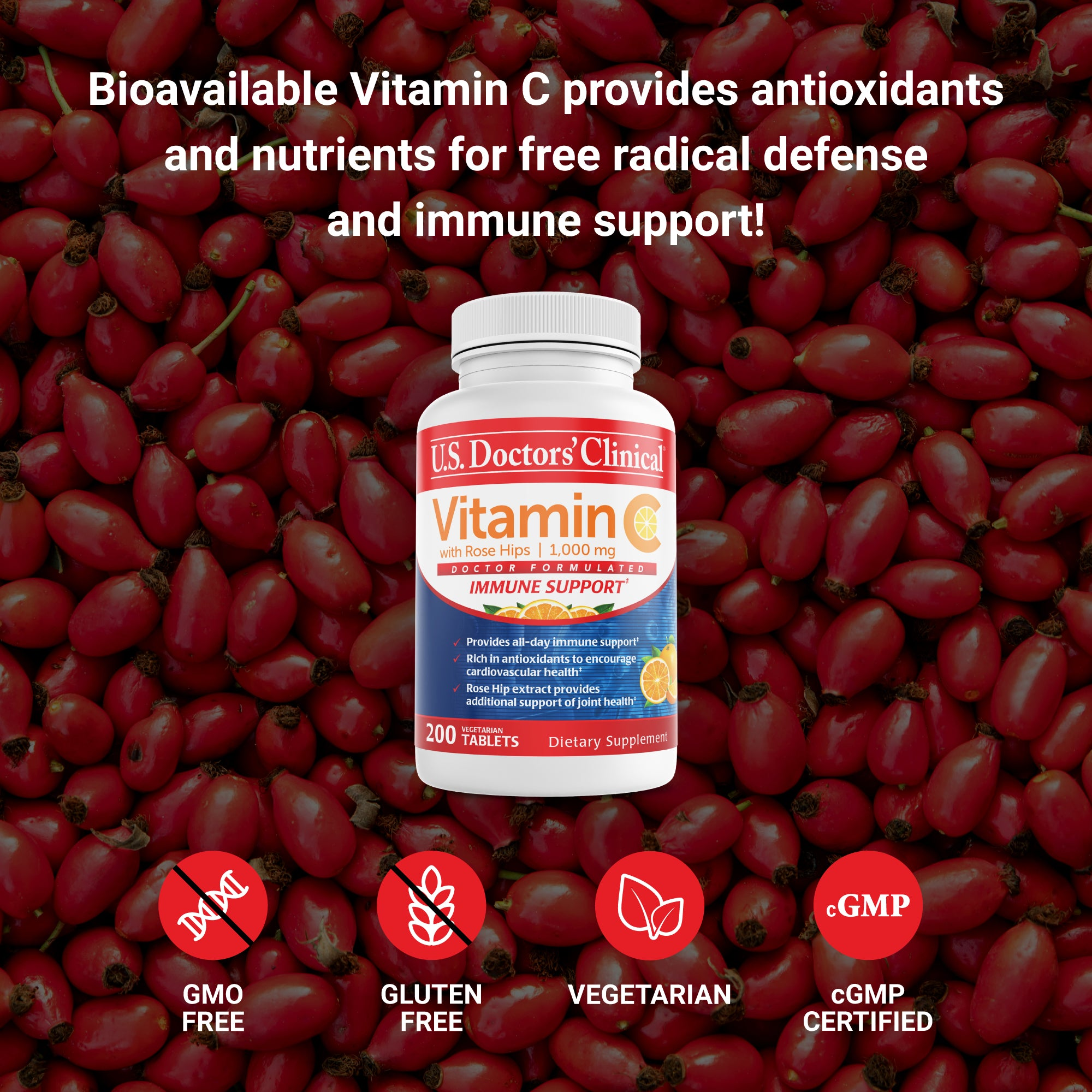 Vitamin C for Daily Immune Support with Rose Hips - 1,000mg, 200 Count