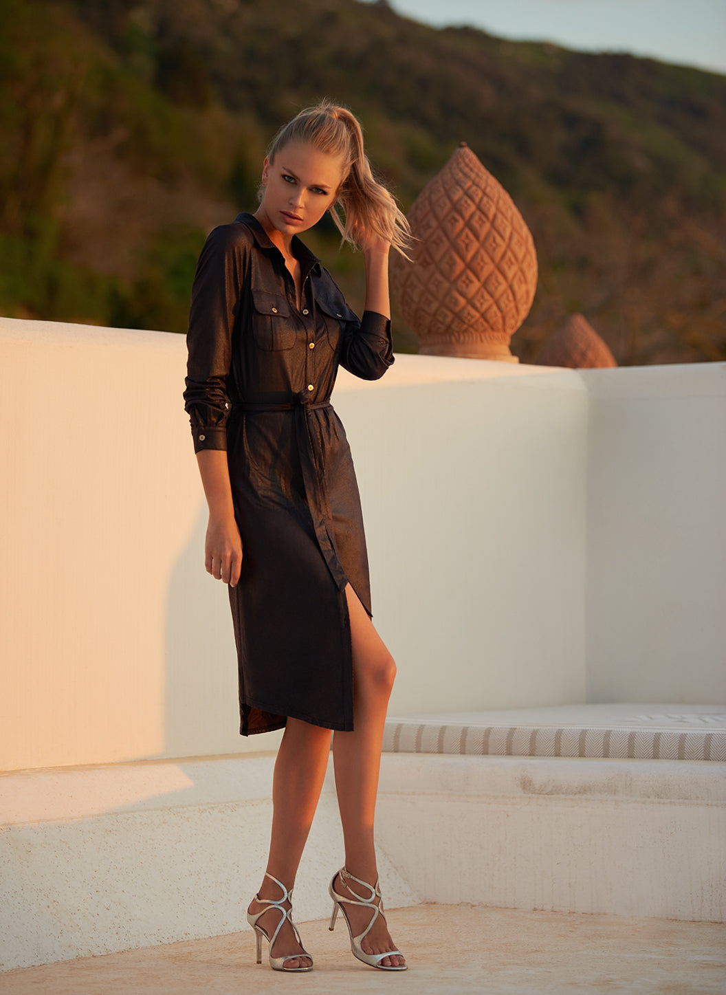 Loren Black Leather Effect Shirt Dress - Melissa Odabash Dresses & Kaftans
