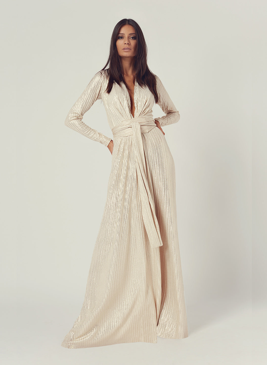 Look 11 Deep V Belted Maxi Dress Gold - Melissa Odabash Anniversary Collection