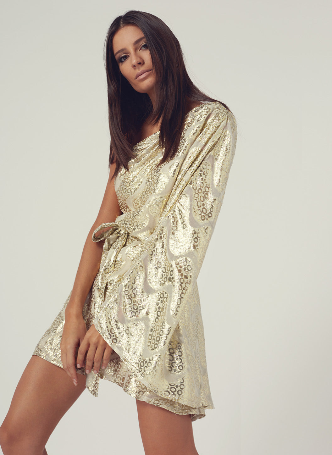 Look 13 One Sleeve Belted Mini Dress Gold Shimmer