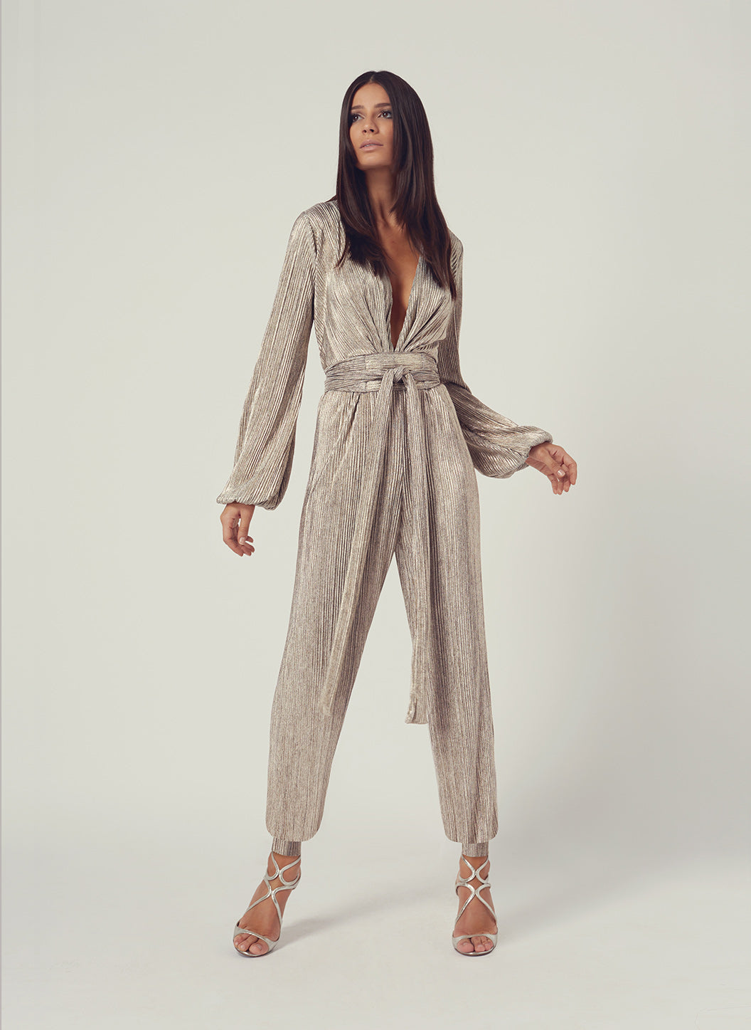 Look 14 Tapered Leg Jumpsuit Metal - Melissa Odabash Anniversary Collection