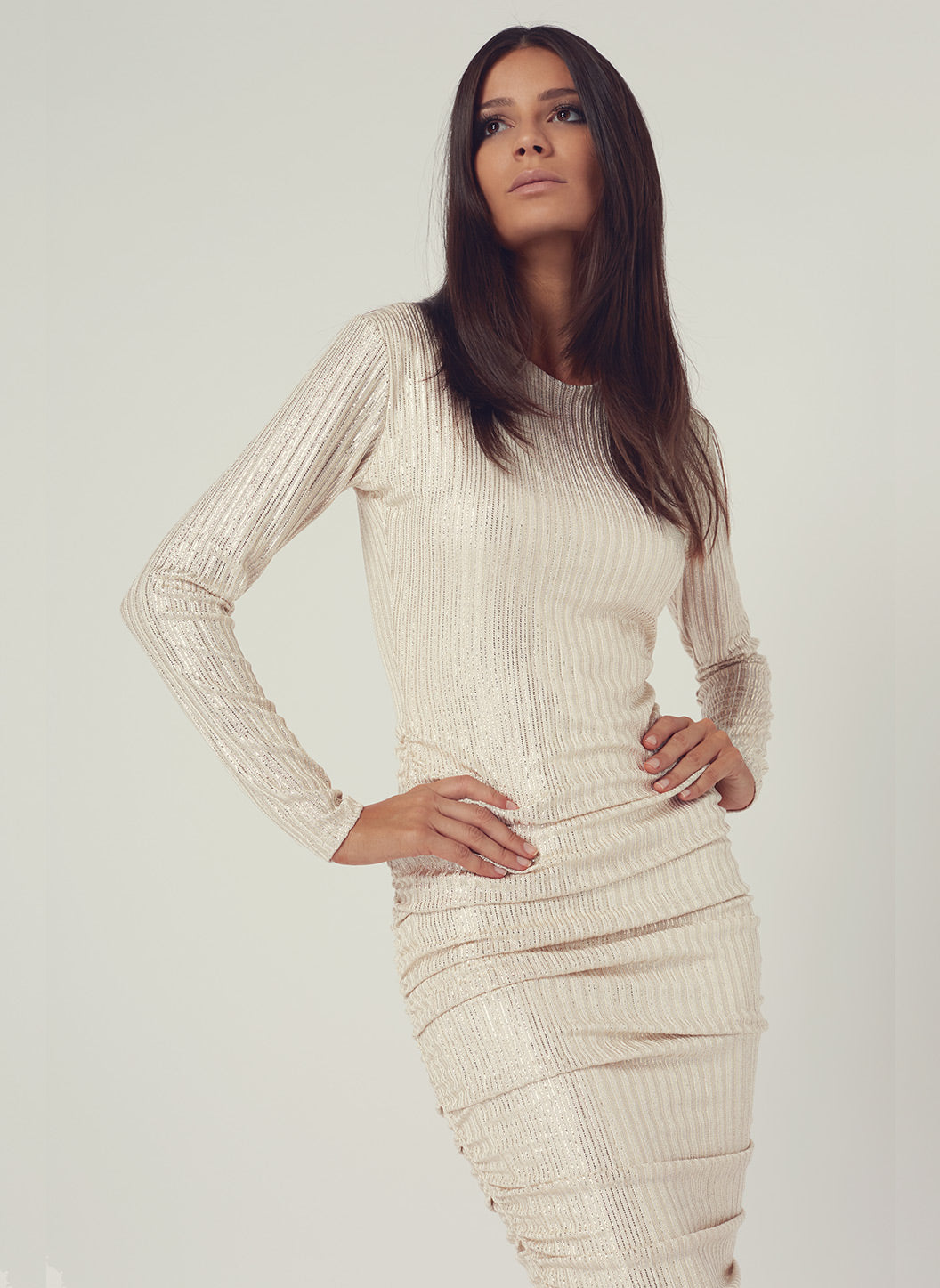 Look 18 Gathered Midi Dress Gold - Melissa Odabash Anniversary Collection