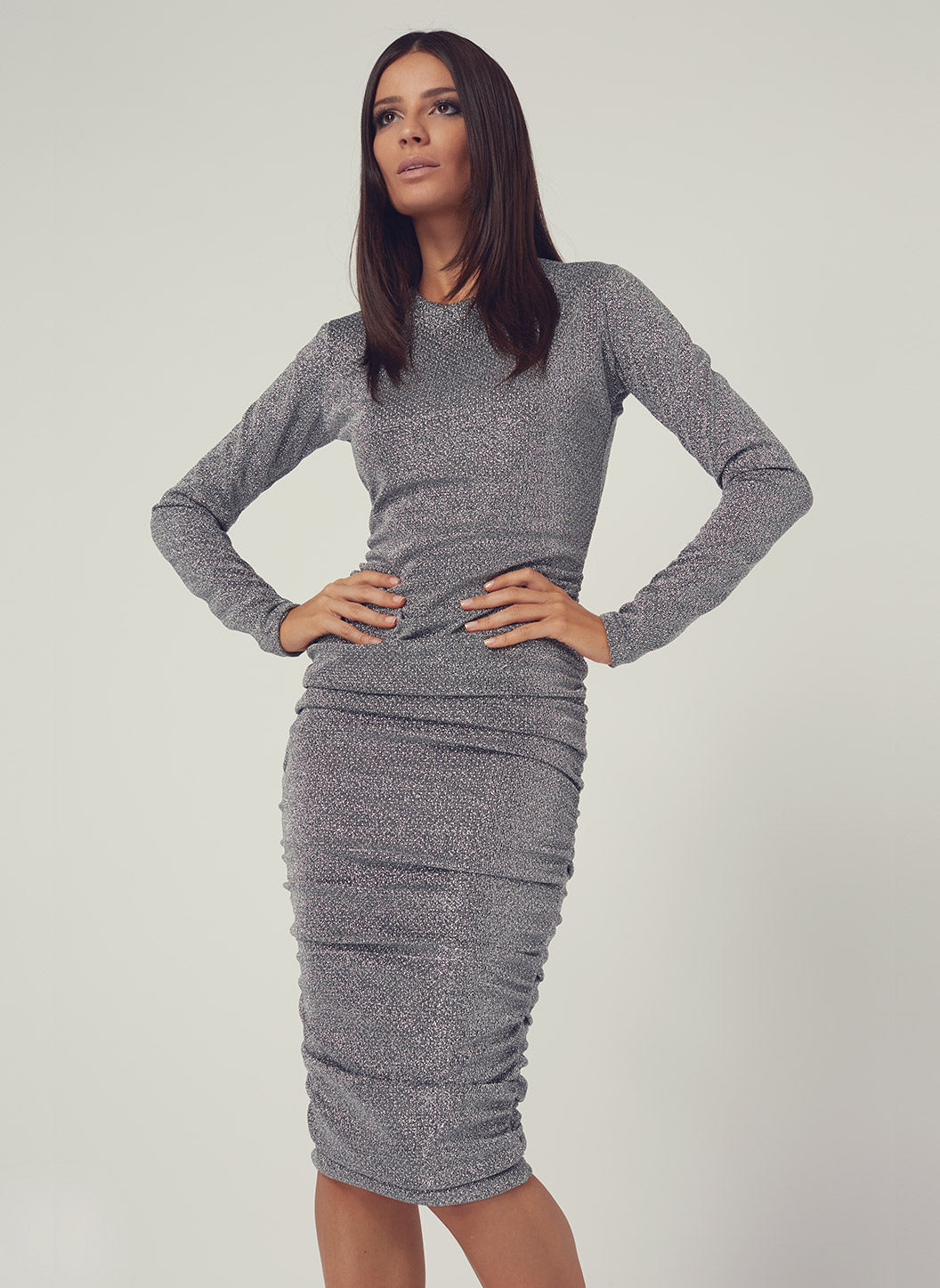 Look 18 Gathered Midi Dress Silver - Melissa Odabash Anniversary Collection