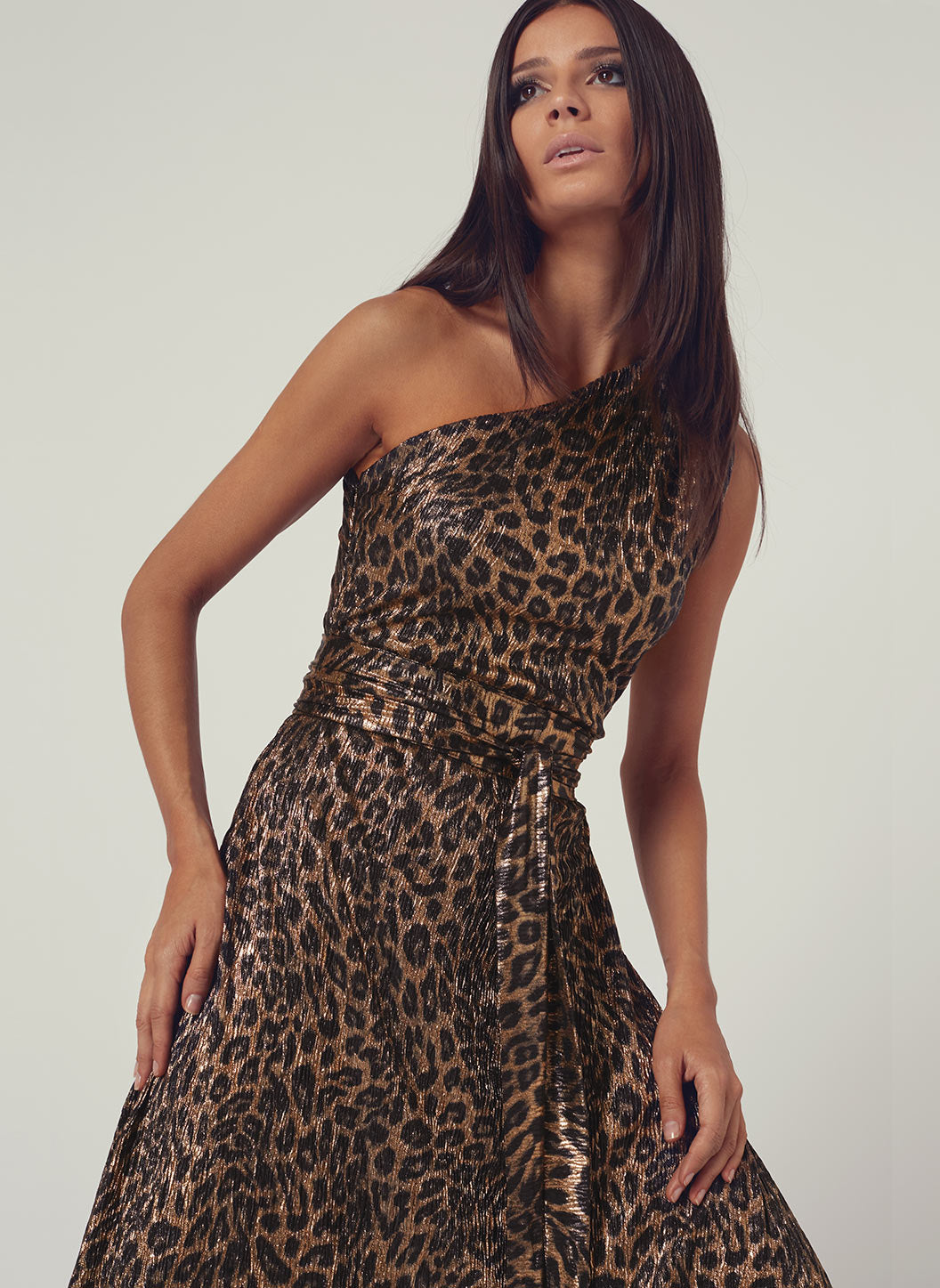 Look 2 One Shoulder Draped Maxi Dress Leopard - Melissa Odabash Anniversary Collection