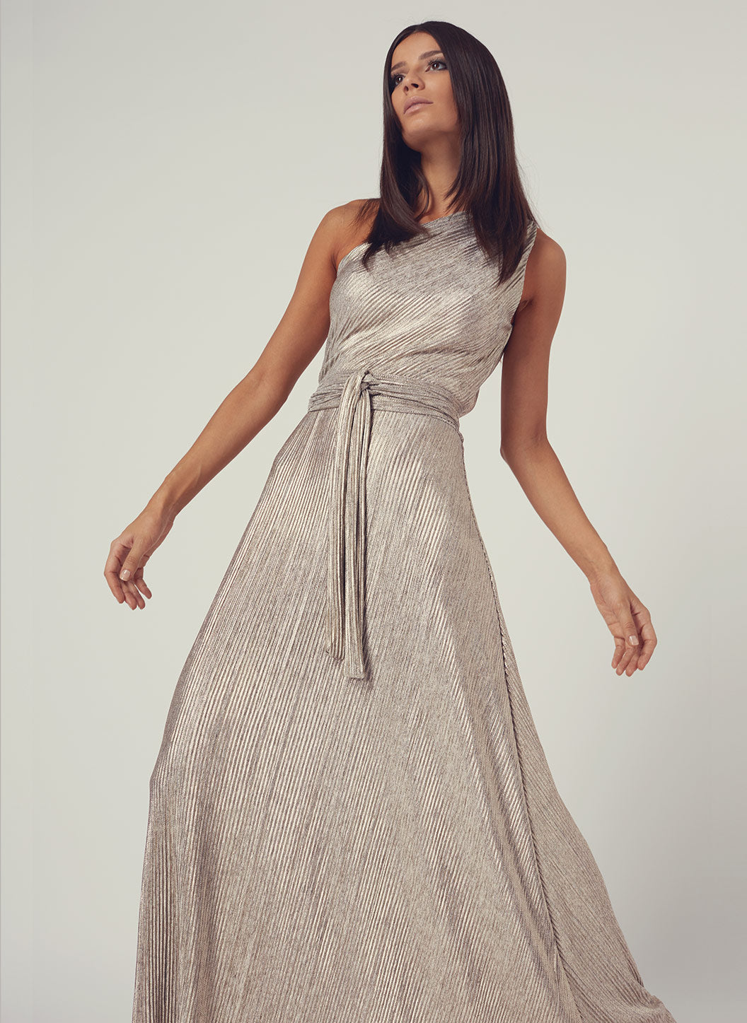 Look 2 One Shoulder Draped Maxi Dress Metal  - Melissa Odabash Anniversary Collection