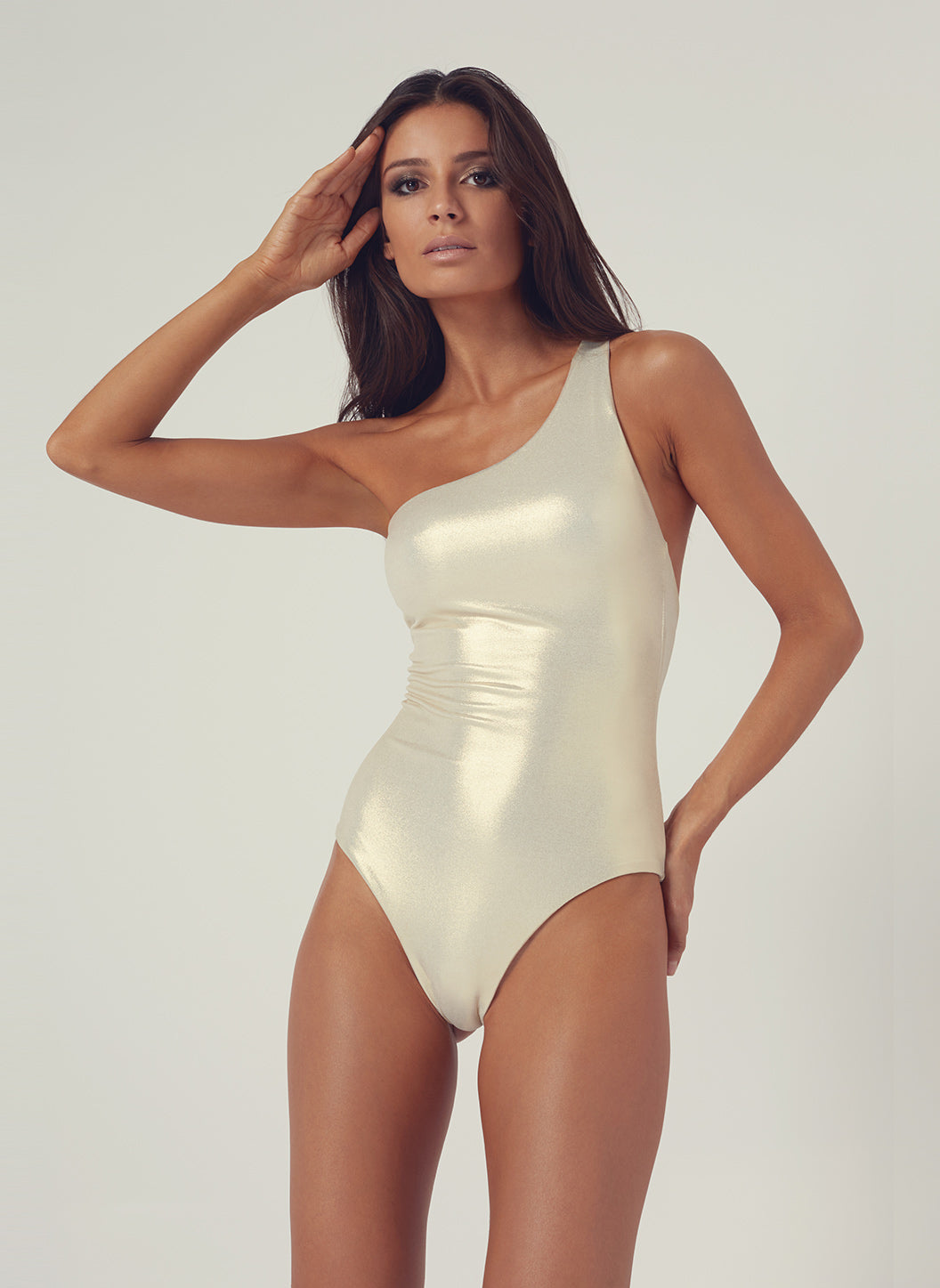 Look 22 One Shoulder Onepiece Gold - Melissa Odabash Anniversary Collection