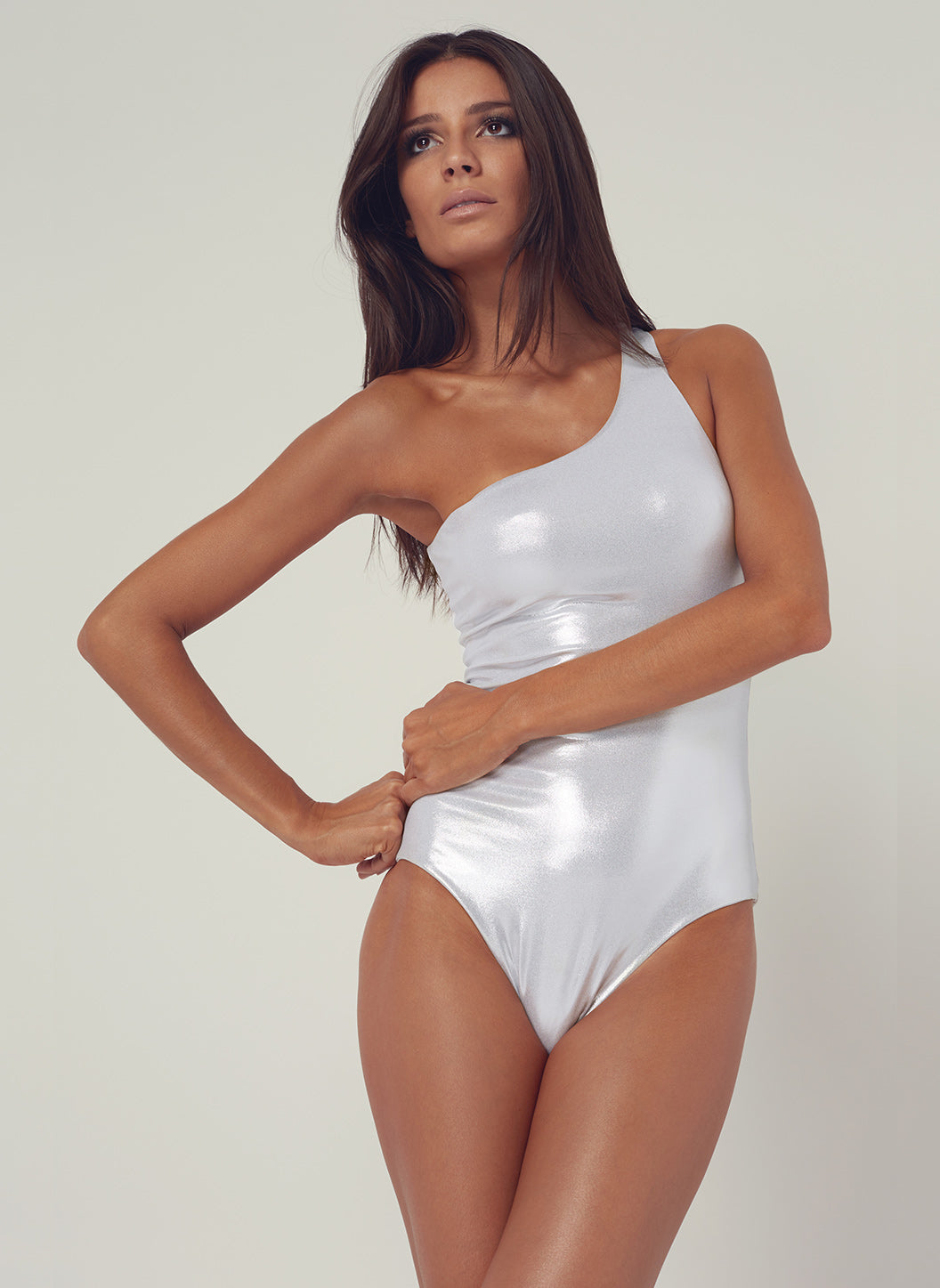 Look 22 One Shoulder Onepiece Silver - Melissa Odabash Anniversary Collection