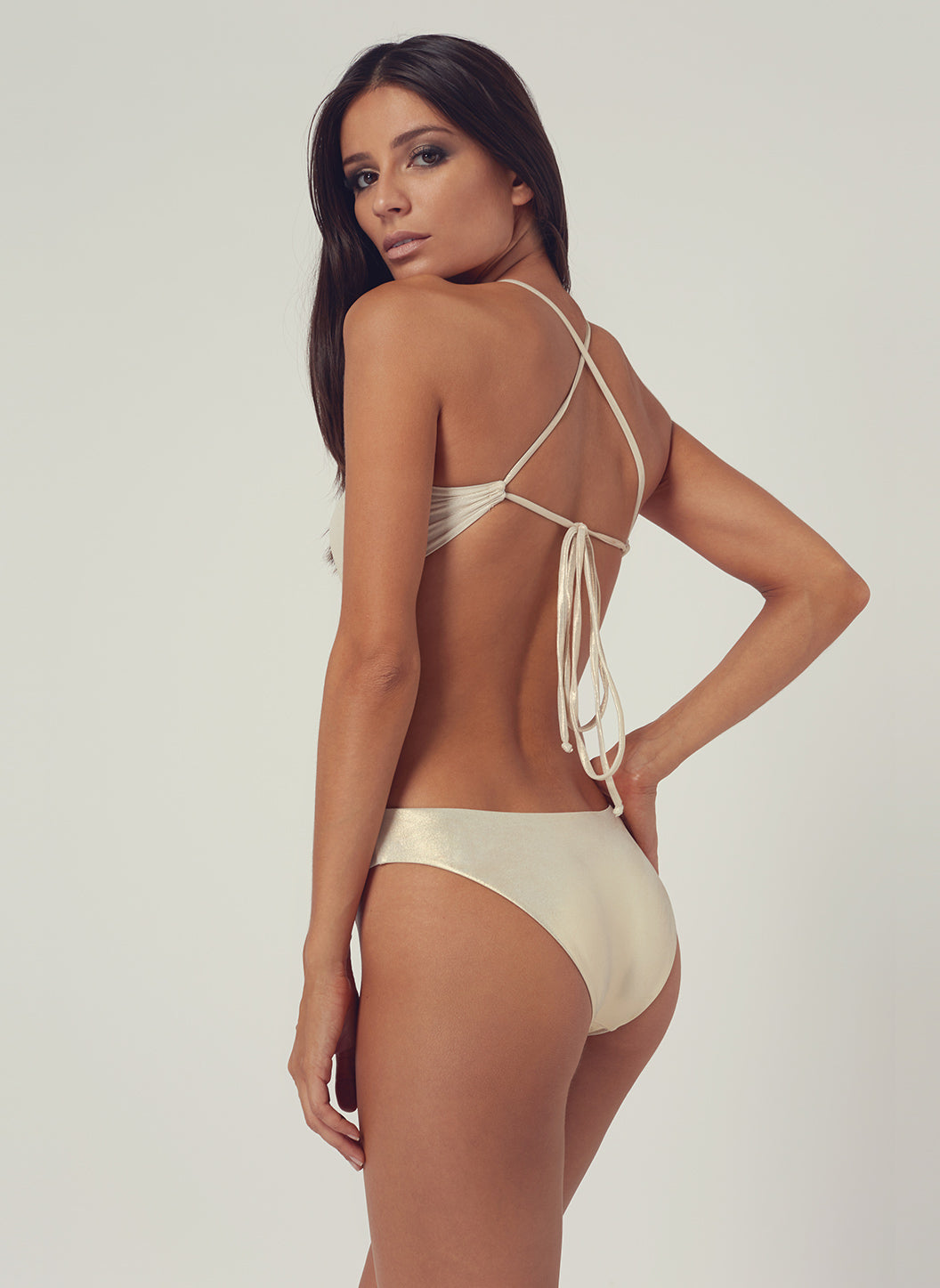 Look 23 Tie-Back Cut Out One Piece Gold - Melissa Odabash Swimwear