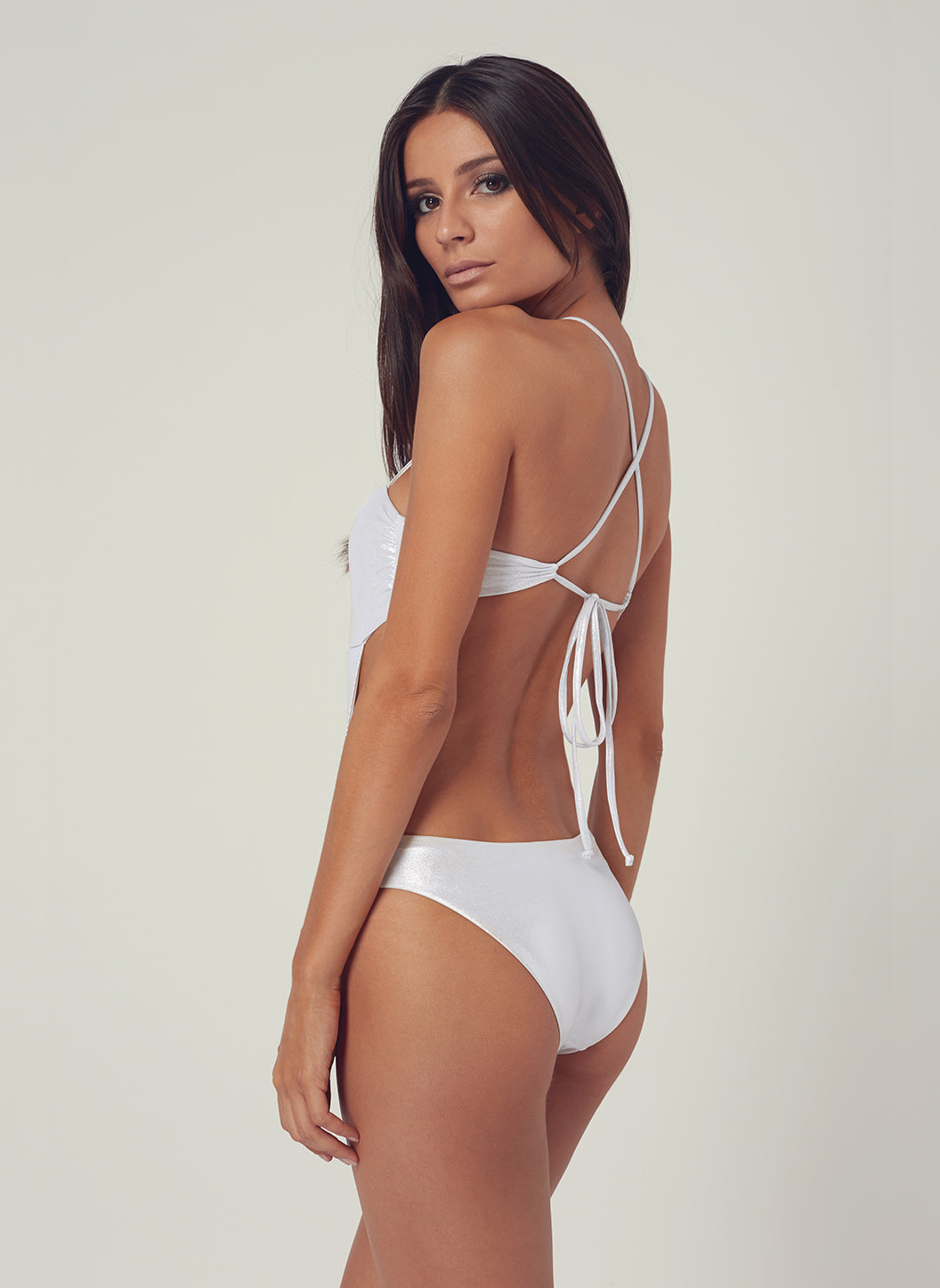 Look 23 Tie-Back Cut Out One Piece Silver - Melissa Odabash Swimwear