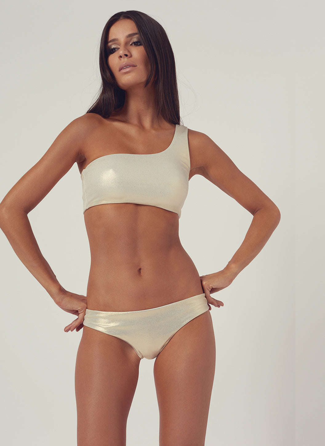 Look 24 Seamless One Shoulder Bikini Gold - Melissa Odabash Swimwear