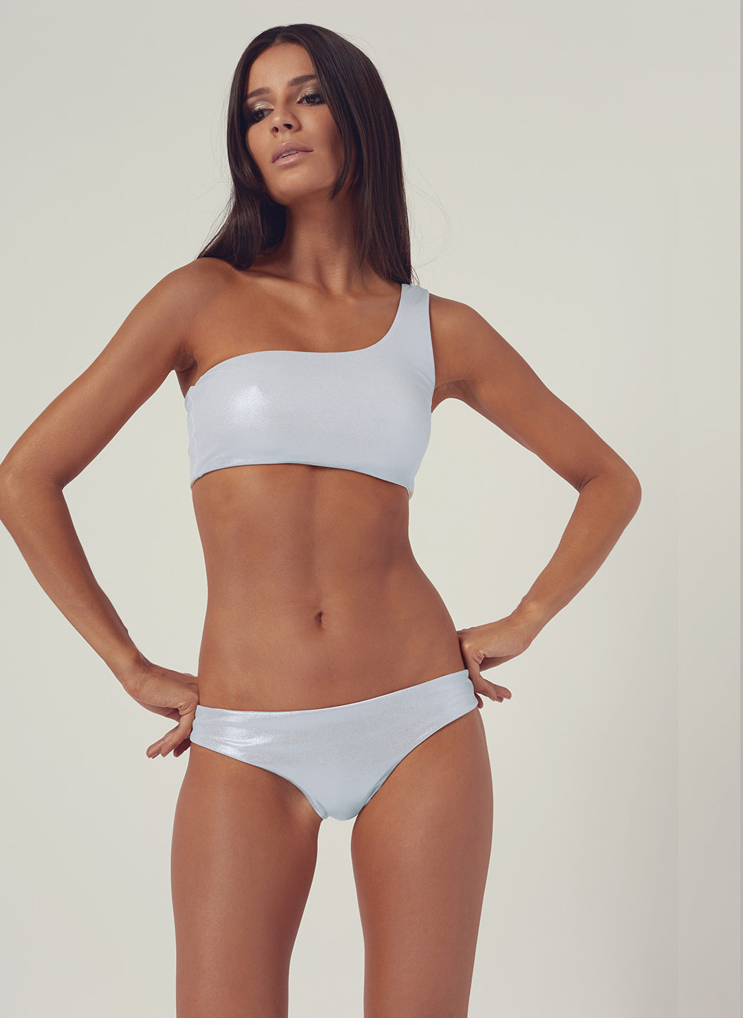 Look 24 Seamless One Shoulder Bikini Silver - Melissa Odabash Swimwear