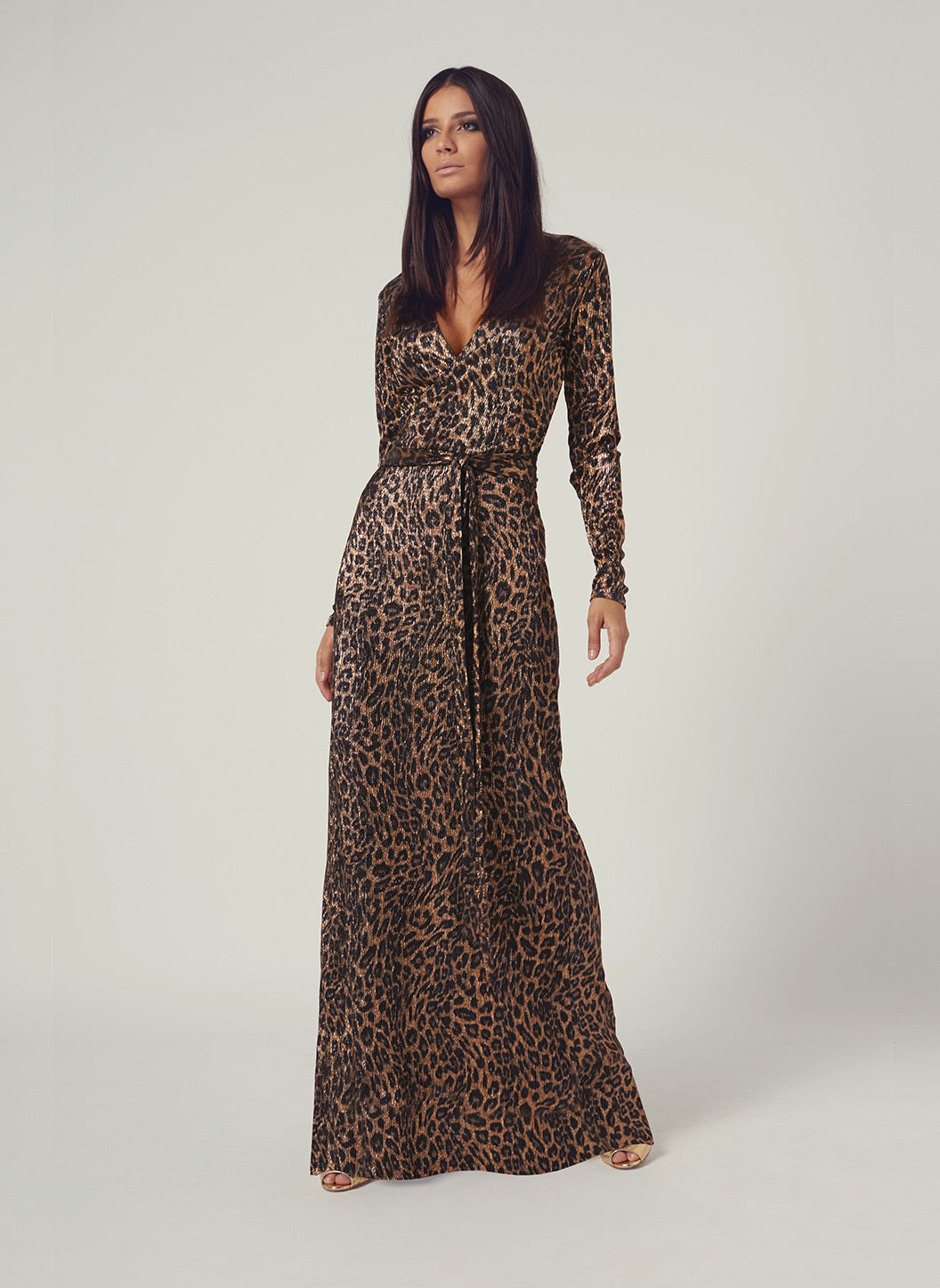 Look 3 Wrap Maxi Dress Leopard - Melissa Odabash Anniversary Collection