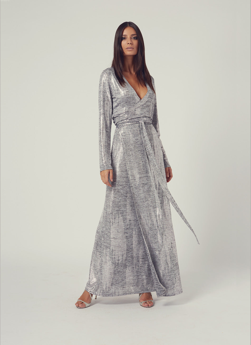Look 3 Wrap Maxi Dress Silver - Melissa Odabash Anniversary Collection
