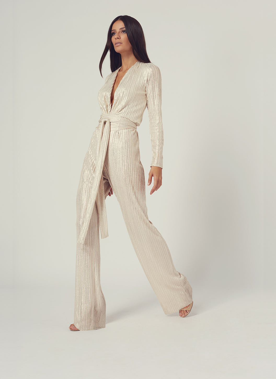 Look 4 Deep V Belted Jumpsuit Gold - Melissa Odabash Anniversary Collection