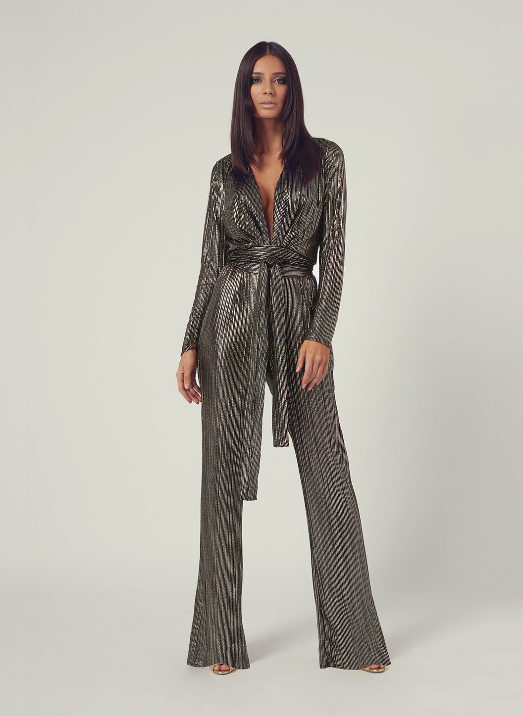 Look 4 Deep V Belted Jumpsuit Gold Stripe - Melissa Odabash Jumpsuits