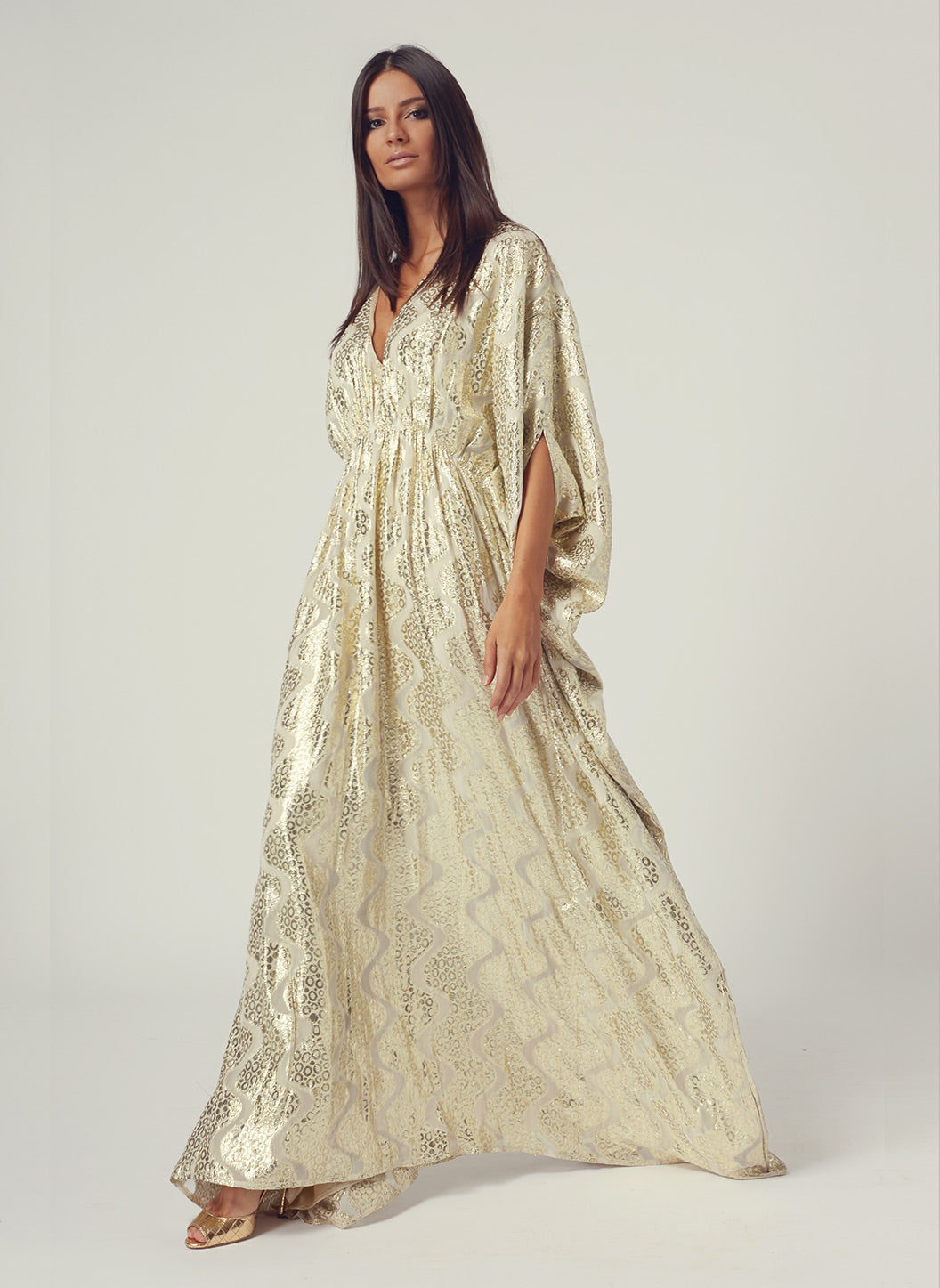 Look 5 Empire Line Maxi Dress Gold Shimmer