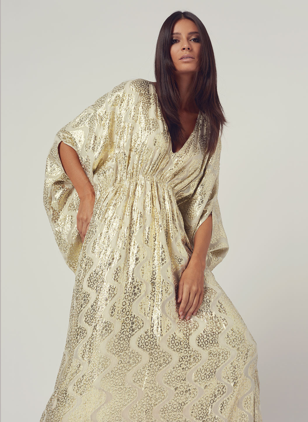 Look 5 Empire Line Maxi Dress Gold Shimmer  - Melissa Odabash Anniversary Collection