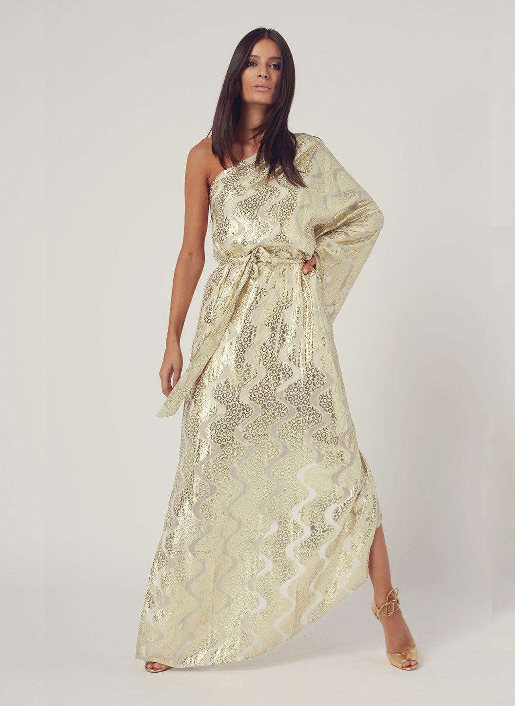 Look 6 One Sleeve Belted Maxi Dress Gold Shimmer - Melissa Odabash Anniversary Collection
