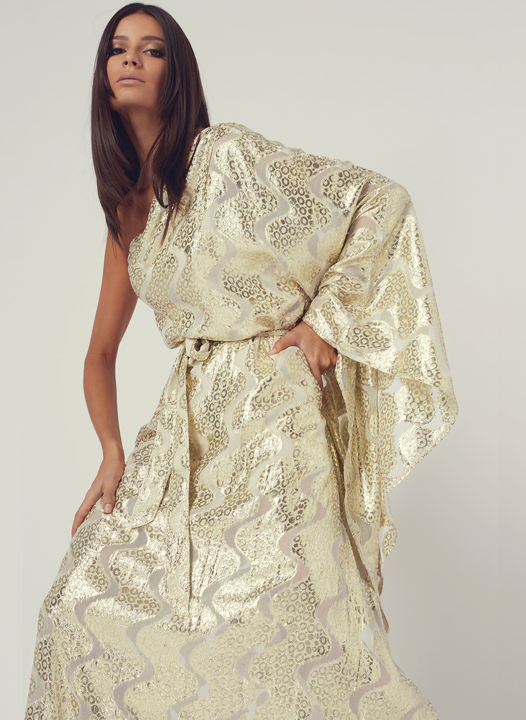 Look 6 One Sleeve Belted Maxi Dress Gold Shimmer