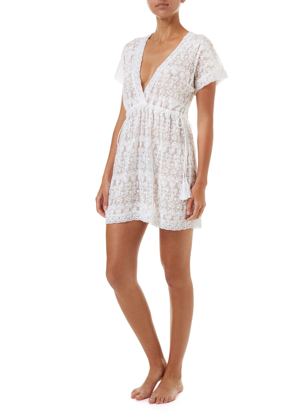 Adelina White Embroidered Short Tie-Side Beach Dress