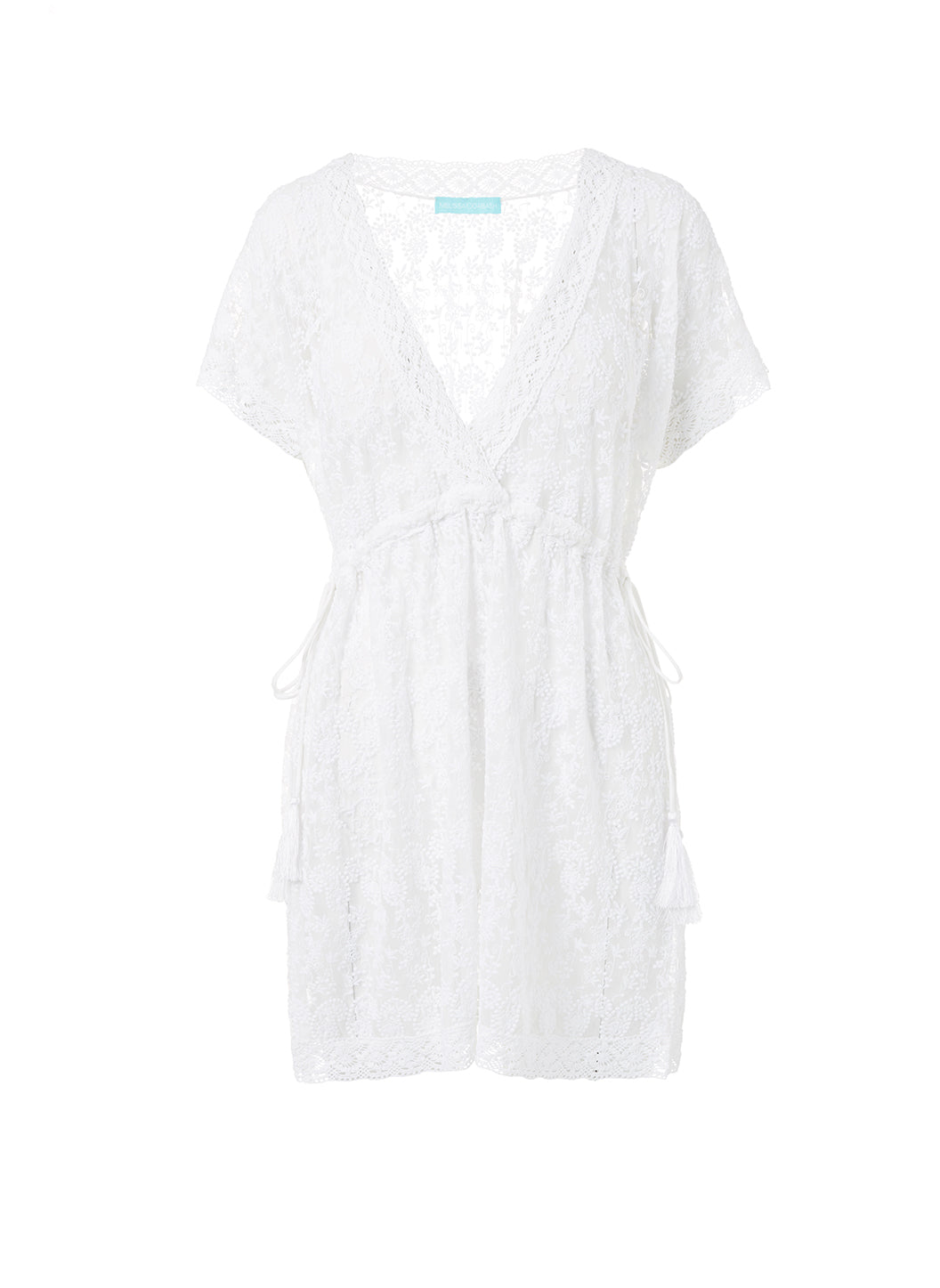 Adelina White Embroidered Short Tie-Side Beach Dress - Melissa Odabash New Arrivals