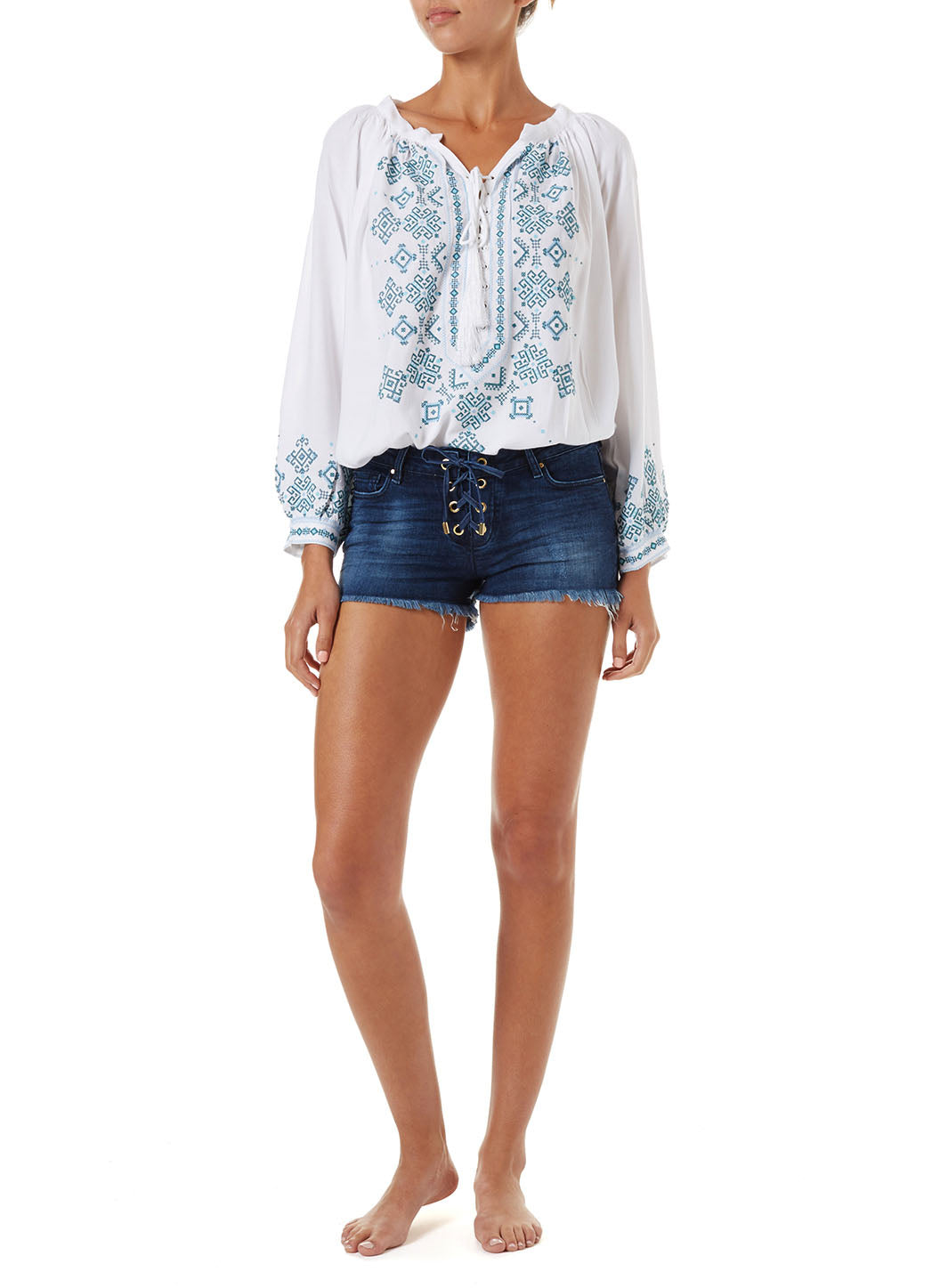 Alexi Denim Lace-Up Shorts - Melissa Odabash Tops & Bottoms