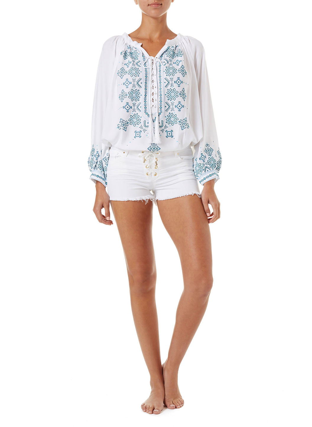 Alexi White Denim Lace-Up Shorts - Melissa Odabash Beachwear