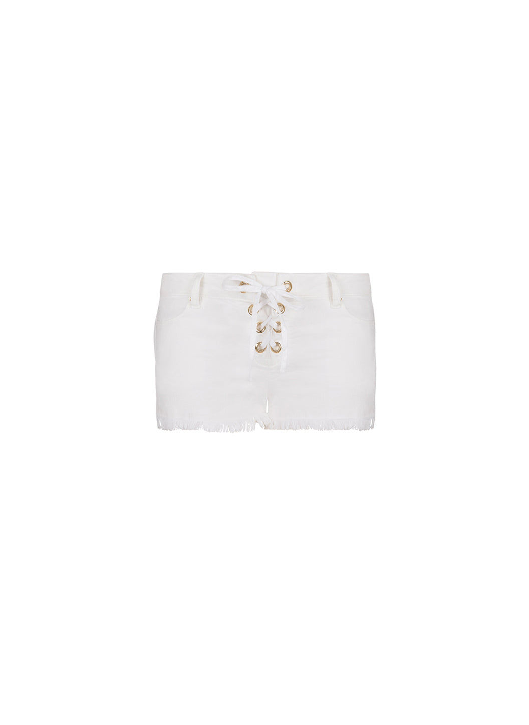 Alexi White Denim Lace-Up Shorts - Melissa Odabash Tops & Bottoms