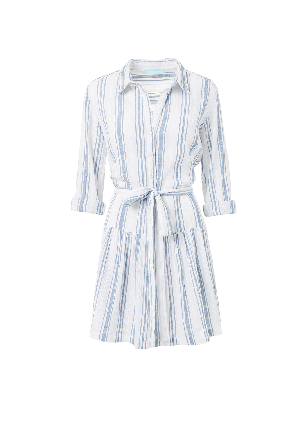 Amelia Blue Stripe Short Belted Shirt Dress  - Melissa Odabash Beachwear