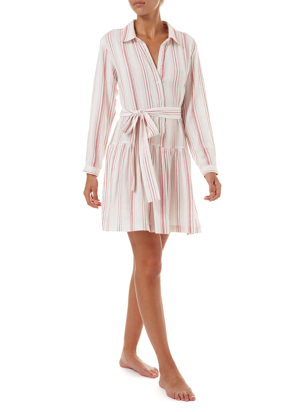 Amelia Red Stripe Short Belted Shirt Dress
