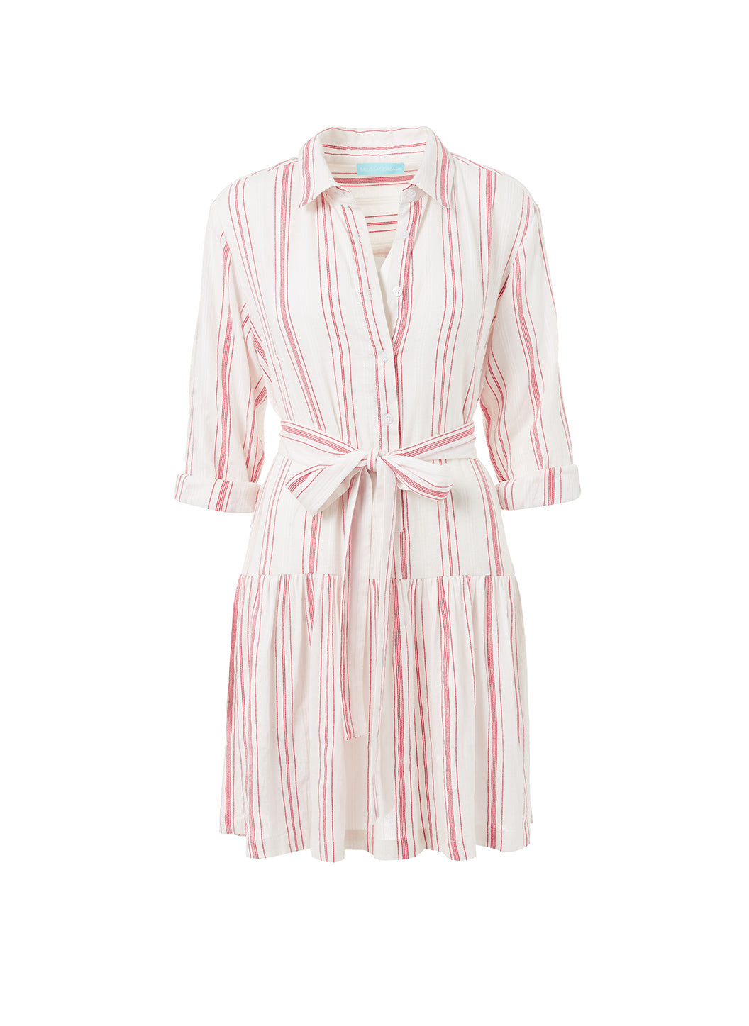 Amelia Red Stripe Short Belted Shirt Dress  - Melissa Odabash Beach Dresses