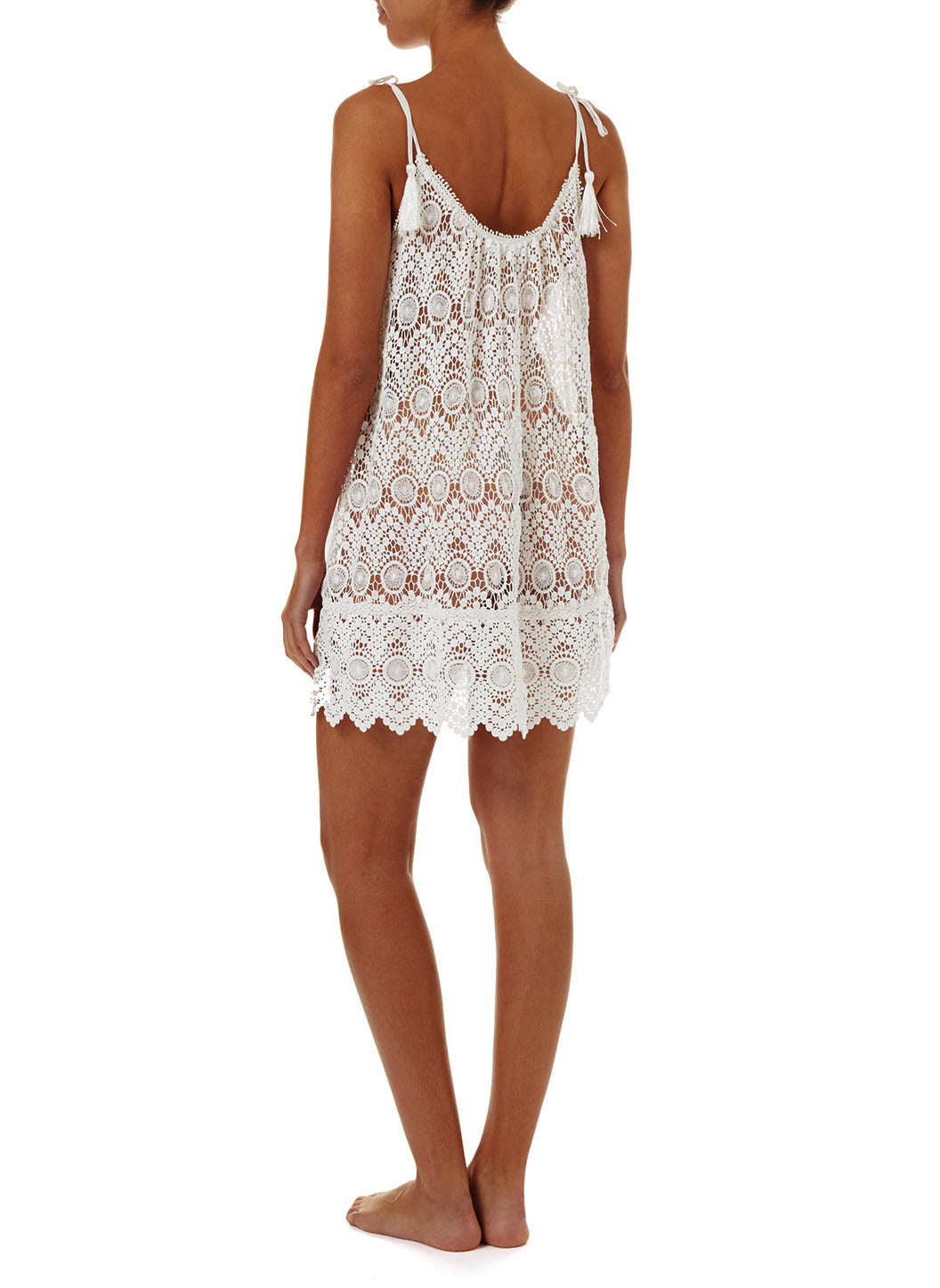 Ana Cream Lace Short Tie-Shoulder Beach Dress
