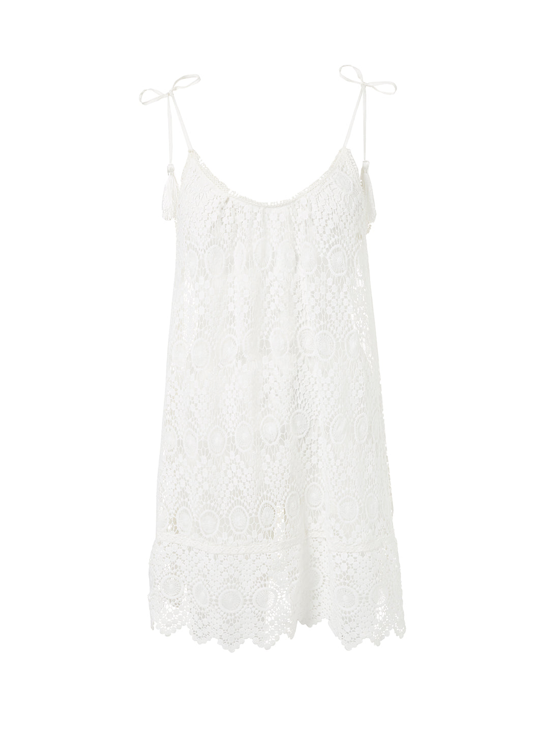 Ana Cream Lace Short Tie-Shoulder Beach Dress - Melissa Odabash Beachwear