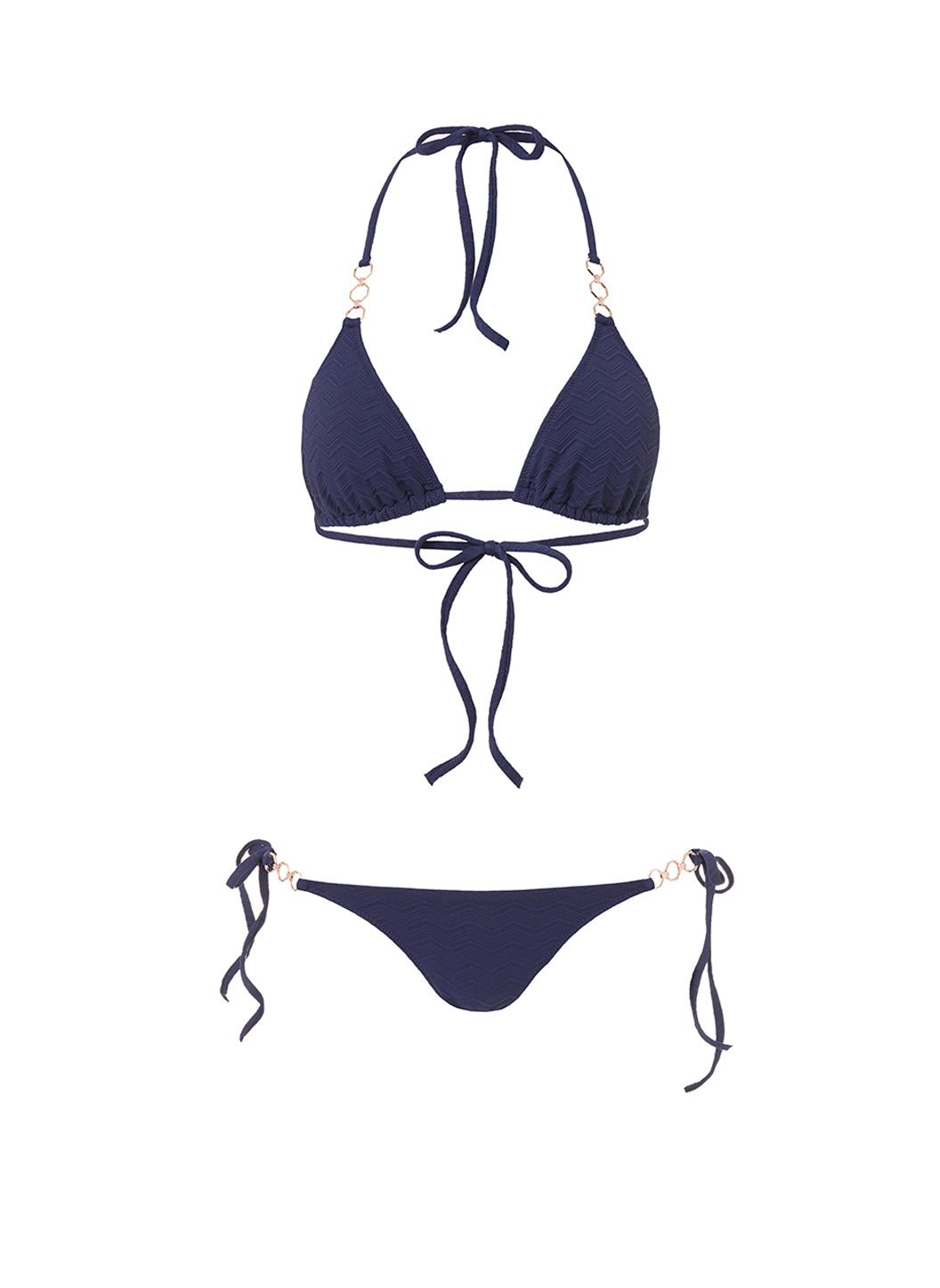 Anguilla Navy Zigzag Triangle Triple Ring Bikini