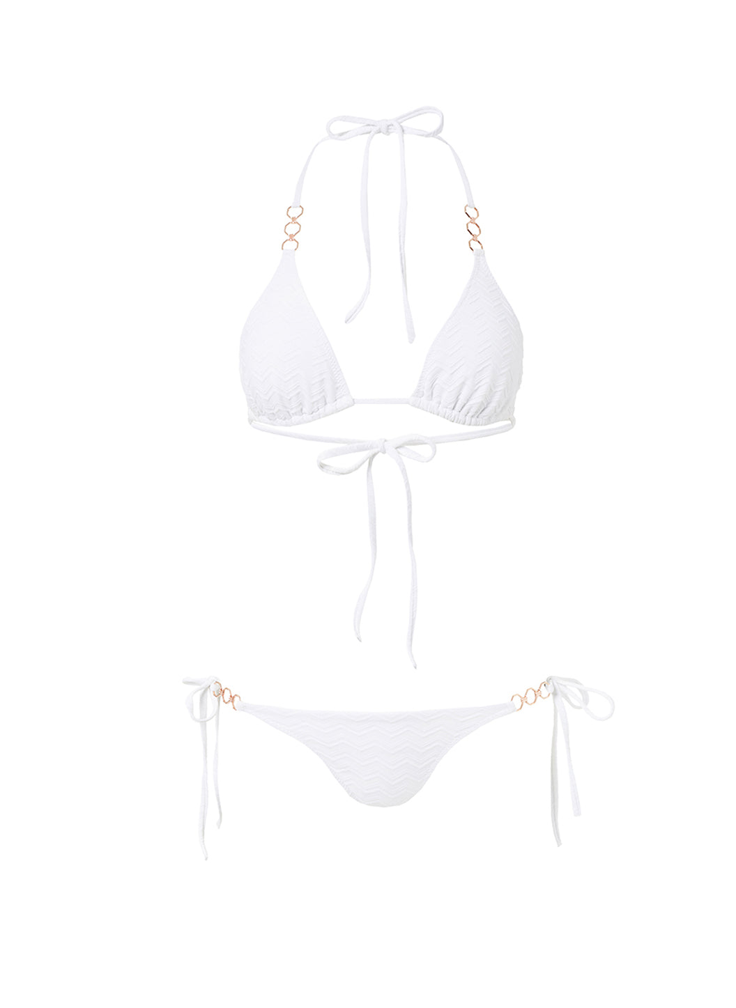 Anguilla White Zigzag Triangle Triple Ring Bikini