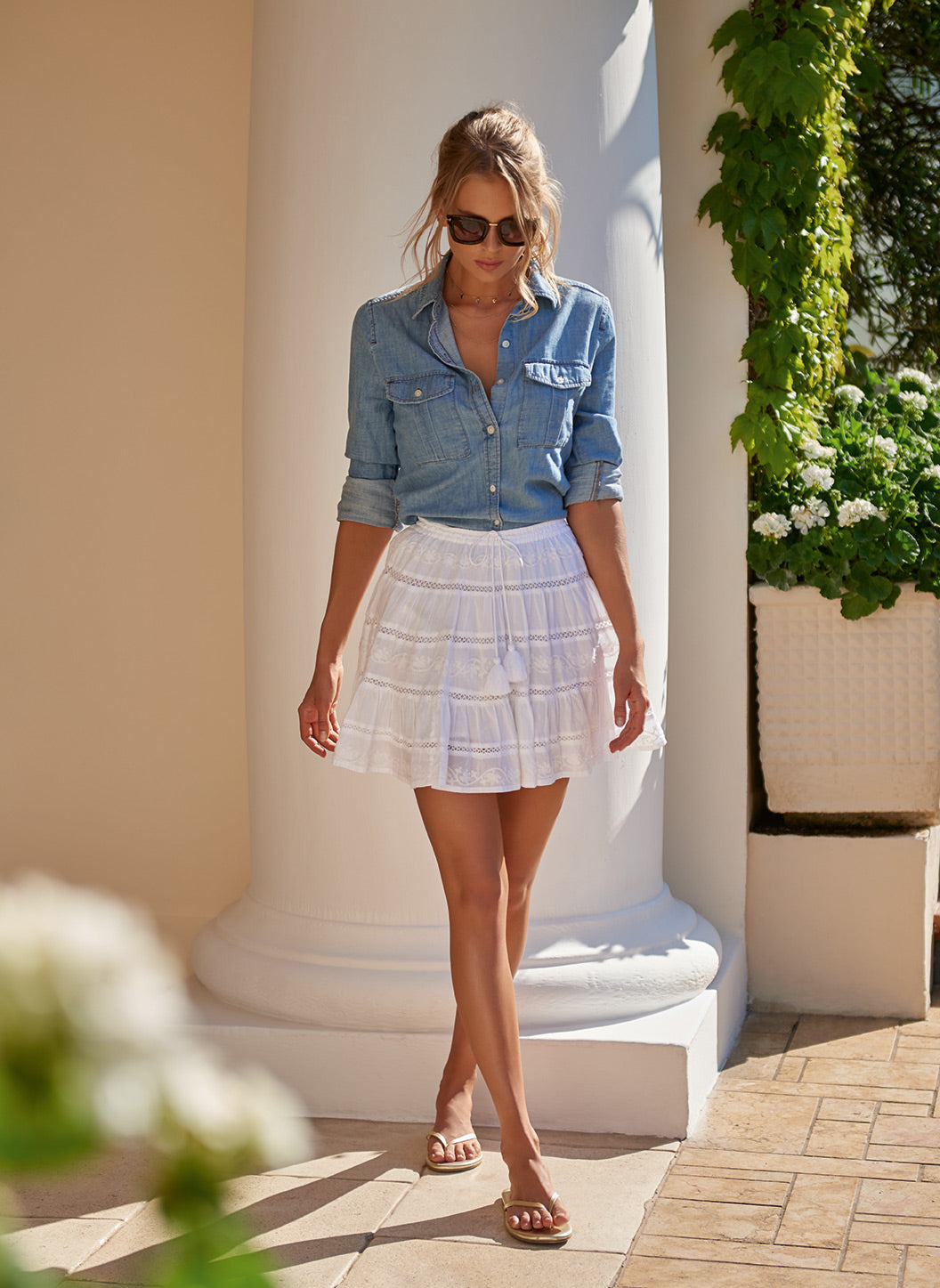 Anita White Tassle Skirt - Melissa Odabash Tops & Bottoms